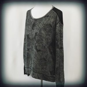 Seven7 Women's Long Sleeve Sheer Back Top